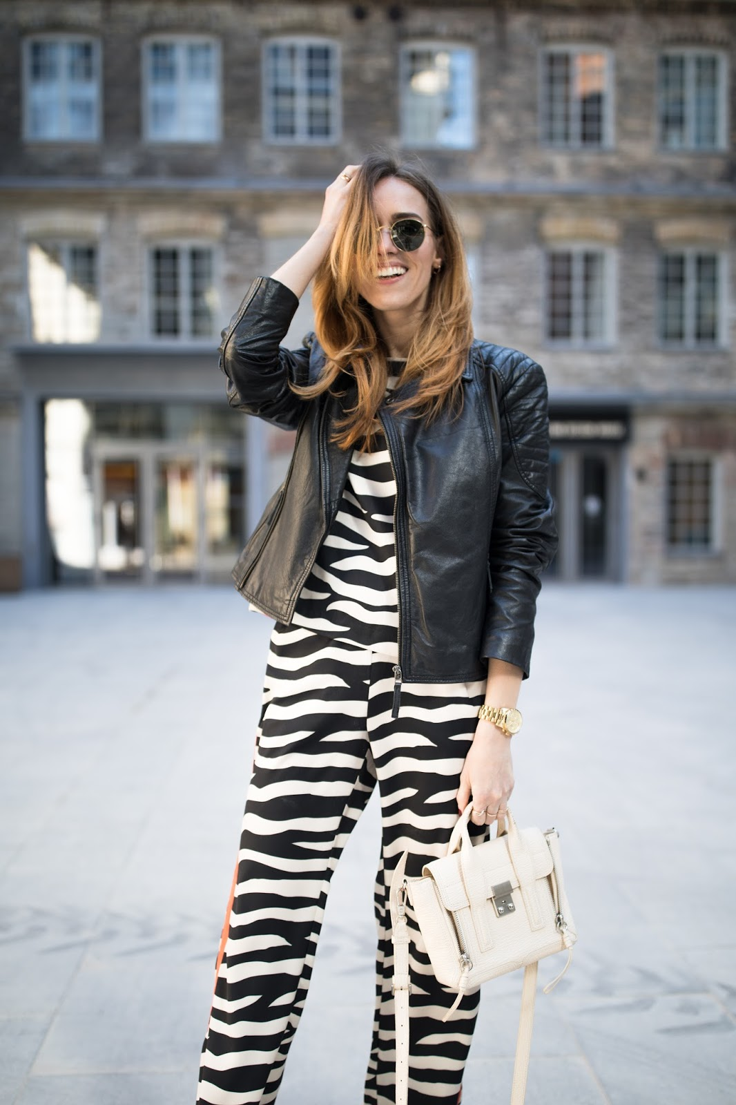 zebra print pyjama outfit