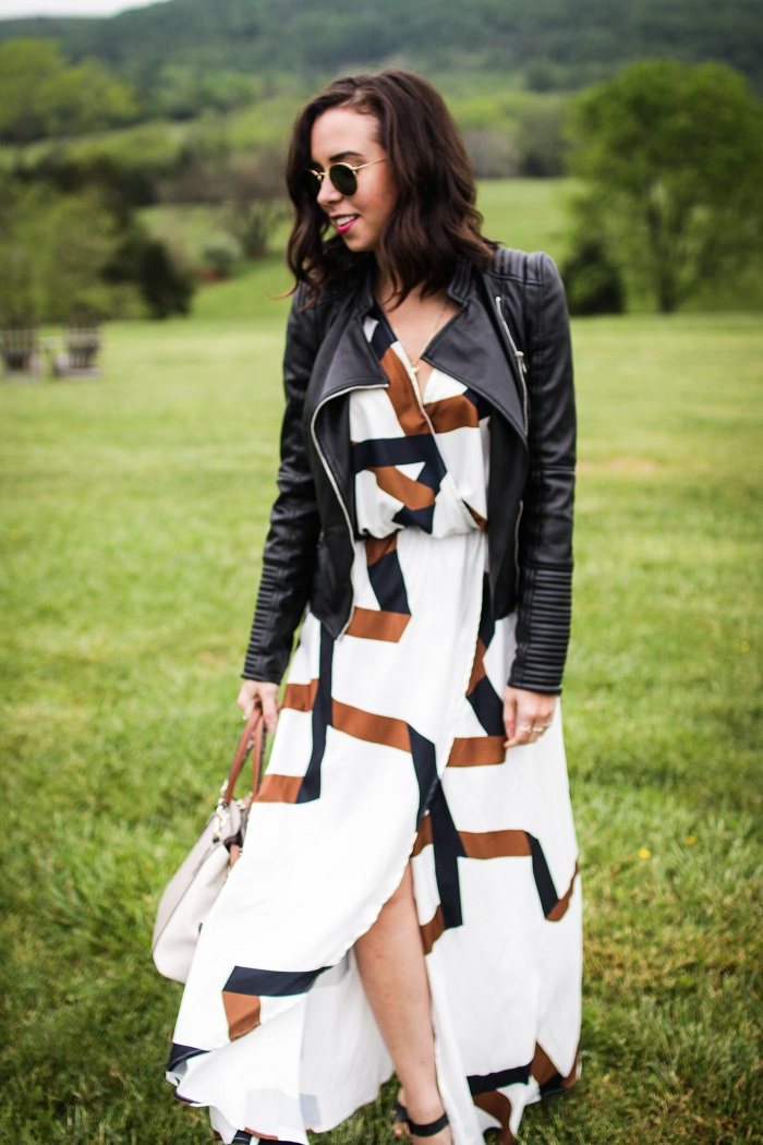 What to Wear to a Winery - Fall / Spring | A.Viza Style | shein wrap maxi dress - zara faux leather jacket - joie lena wedge sandal - casual style - winery style