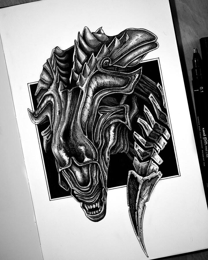 15-Xenomorph-Queen-Camilo-Hearso-www-designstack-co