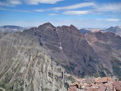 The Maroon Bells from the top of Pyramid Peak