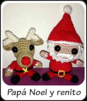 Papá Noel y renito amigurumi