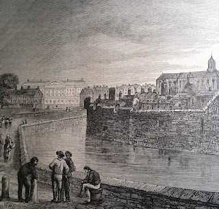 The moat of the Tower of London c1800  from Old and New London by W Thornbury (1873)