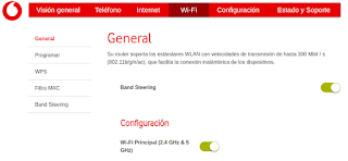 Menu configuración Router Vodafone Band Steering