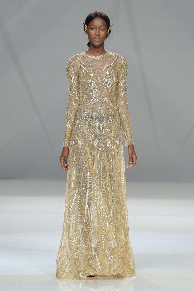 vestidos de novia con color dorado