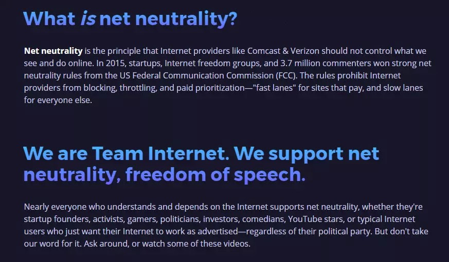 battleforthenet what is net neutrality