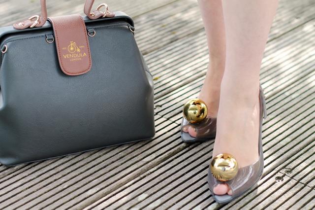 Vivienne Westwood globe shoes in grey and gold, Vendula London charm bag
