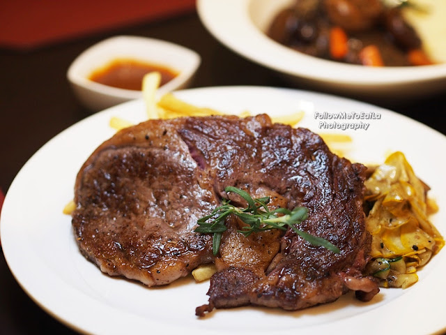 L'entrecote De Boeuf Chargrilled 200days Grain-Fed Angus Rib-Eye With French Fries & Brandy Cream Sauce RM 12