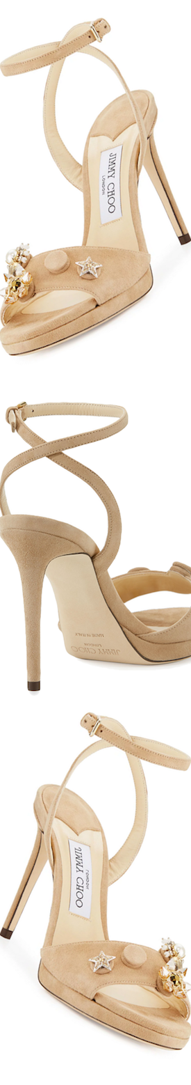 Jimmy Choo Electra Suede Button 100mm Sandal, Nude