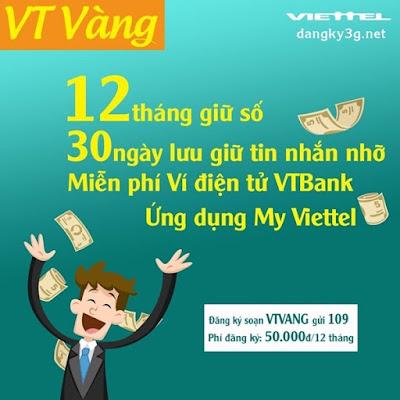 Đăng ký gói VT VÀNG Viettel, giữ số 1 năm không cần điều kiện