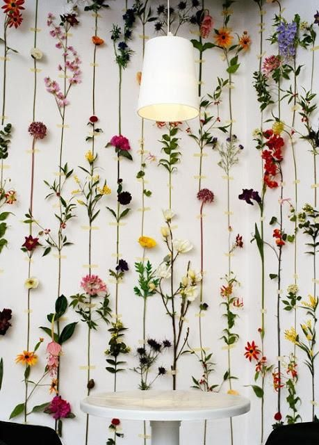 Pared DIY con flores