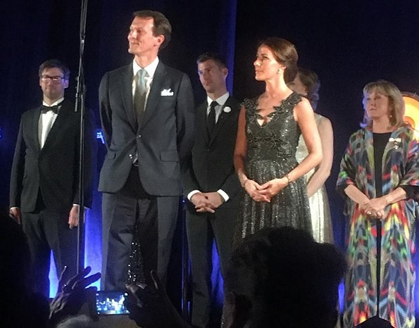 Princess Marie wore a new metallic tulle midi dress by Christopher Kane. Crown Prince Frederik, Prince Joachim and Countess Alexandra