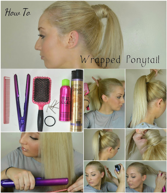 Tease Flutter Pout - TFP - How to - Wrapped ponytail - Sunset Stylers -  Guide - hairstyles - get the look - GHDS - Loreal hairspray - Bedhead shine spray - A/W 2014 - Hair trends - ponytails - high ponytail - wrapped ponytail - Celeb inspired