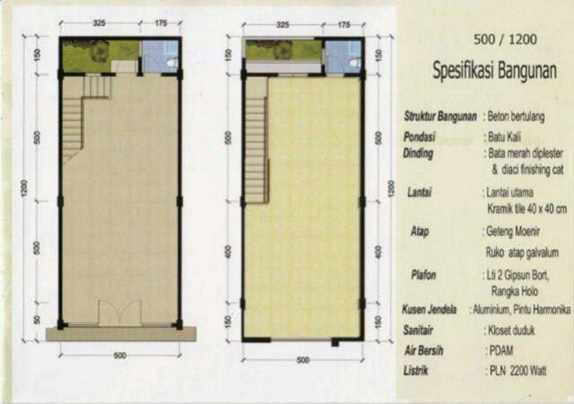 denah rumah ruko 2 lantai 7x10 m kreatif