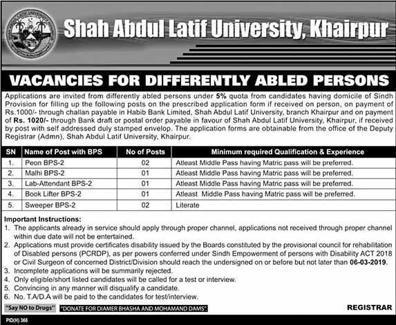 Shah Abdul Latif University SALU Jobs 23 Feb 2019