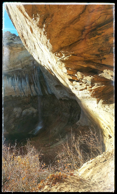 Coming Around an Overhang and Seeing Upper Calf Creek Falls Just Ahead Escalante Nataional Monument