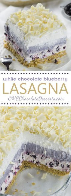 White Chocolate Blueberry Lasagna #whitechocolate #blueberry #lasagna #lasagnarecipes #blueberrylasagna