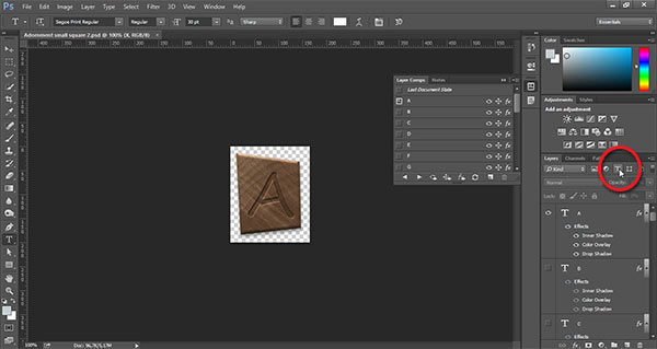 Filter for Type layers in Photoshop CC 2014
