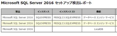 SQL Server 2016 セットアップ検出レポート
