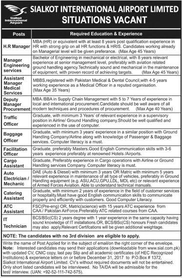 Jobs In Sialkot International Airport December 2017 PO Box 1372