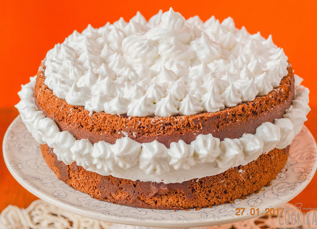 Chocolate cake with swiss meringue frosting
