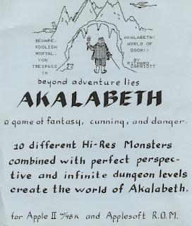Manual de instrucciones original videojuego Akalabeth