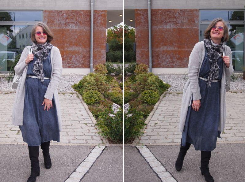 Kuscheliger Kaschmirstrickmantel zum Sommerkleid kombiniert