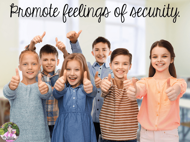 "Photo of kids giving thumbs up and text, ""Promote feelings of security."""