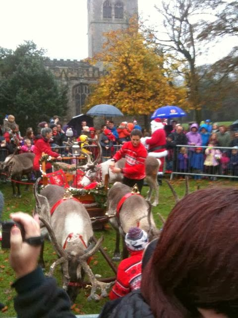 Santa, reindeer and sleigh