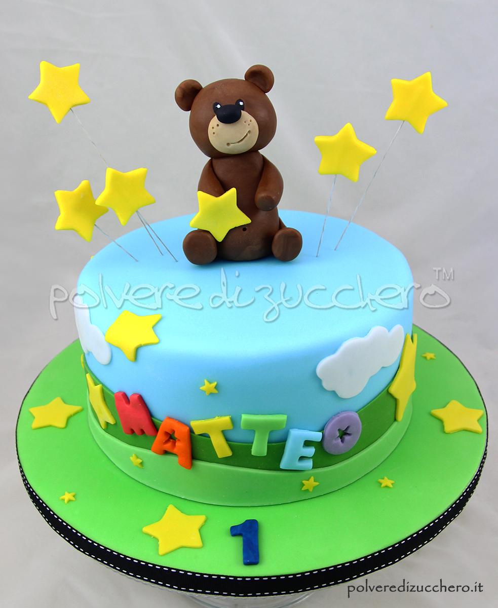 orsetto teddy bear cke design pasta di zucchero cake design polvere di zucchero 1° compleanno first birthday