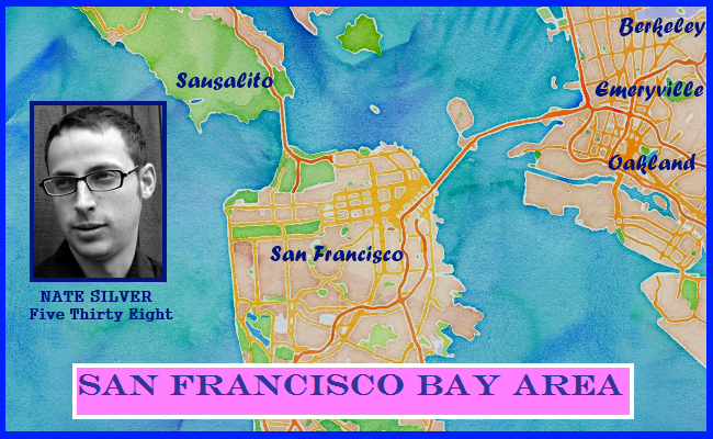 Watercolor map of San Francisco Bay Area, inset photo of Nate Silver jiveinthe415.com