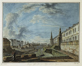View of Moscow from the Trinity Gates in the Kremlin by Fyodor Alekseyev - Architecture, Landscape Drawings from Hermitage Museum