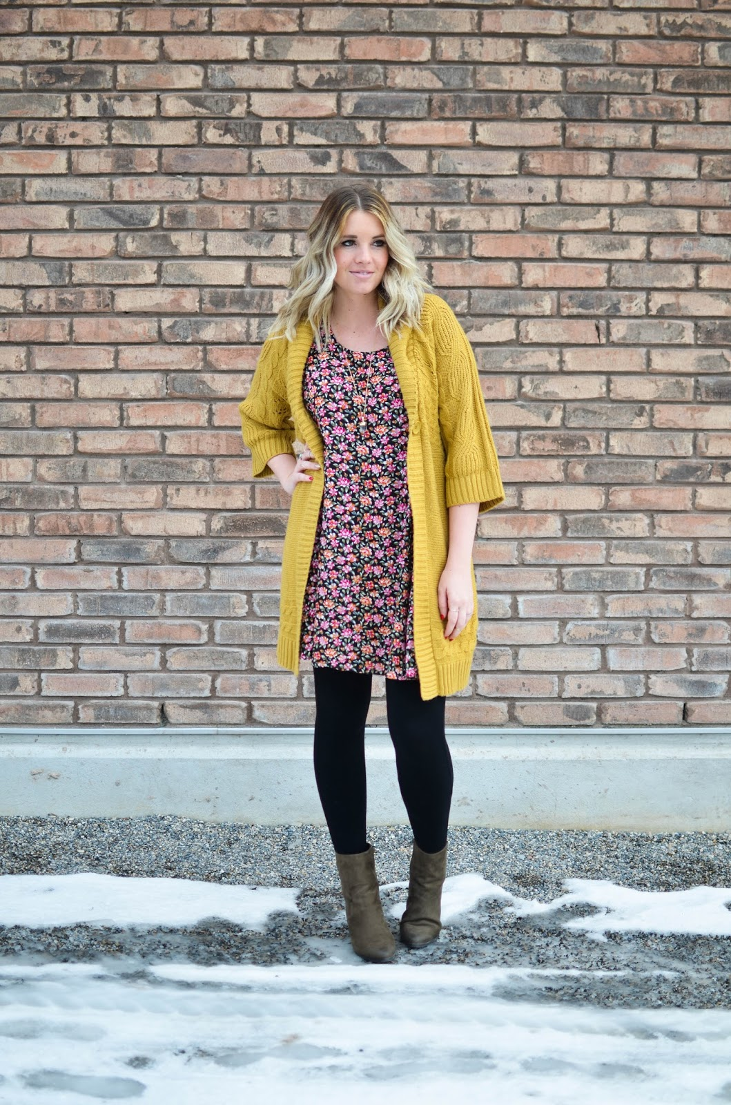 Floral Dress, Modest Outfit, Mustard Cardigan