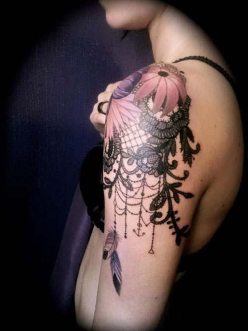 dantel kadın omuz dövmeleri lace woman shoulder tattoos