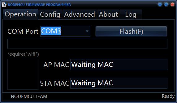 NodeMCU flasher, selezione della porta COM