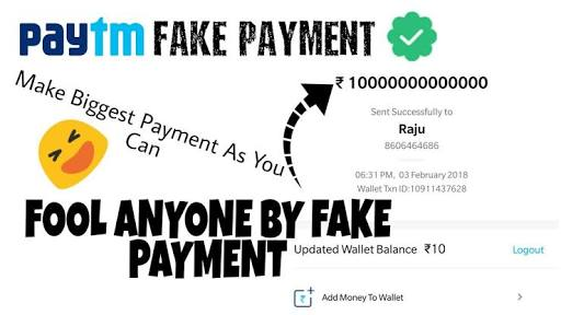 Fake paytm payment via! Hack apk application! Paytm fake payment