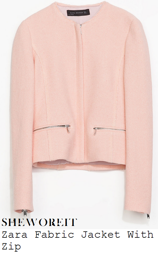 sheworeit: Michelle Keegan's Zara Light Salmon Pink All Over ...