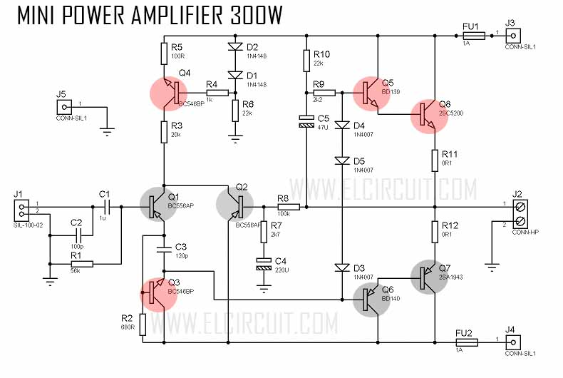 1000w Amplifier Circuit Using Transistor Wiring Diagram