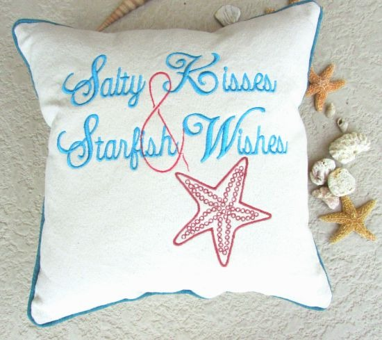 Embroidered Beach Quote Pillow