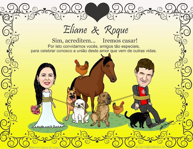 Convite de casamento criado pelo Desenhista Marcelo Lopes de Lopes