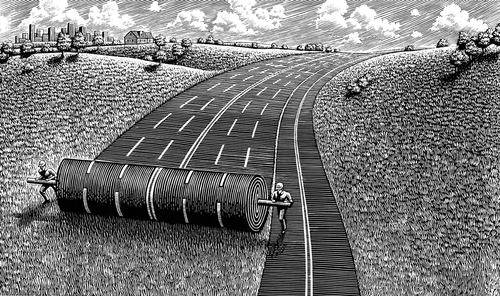 09-Rolling-out-the-Road-Douglas-Smith-Scratchboard-Drawings-Through-Time-and-Lives-www-designstack-co