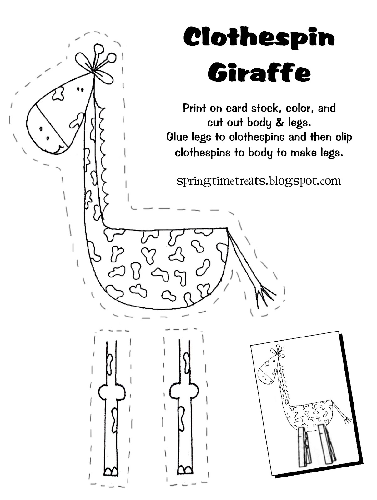 Spring Time Treats Clothespin Giraffe Free Printable