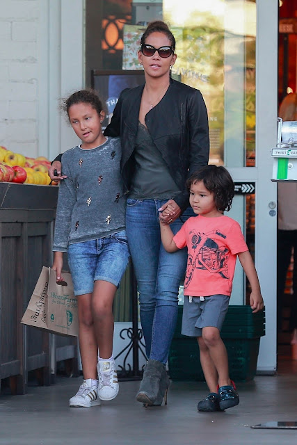 Halle Berry pictured with her kids, Maceo and Nahla