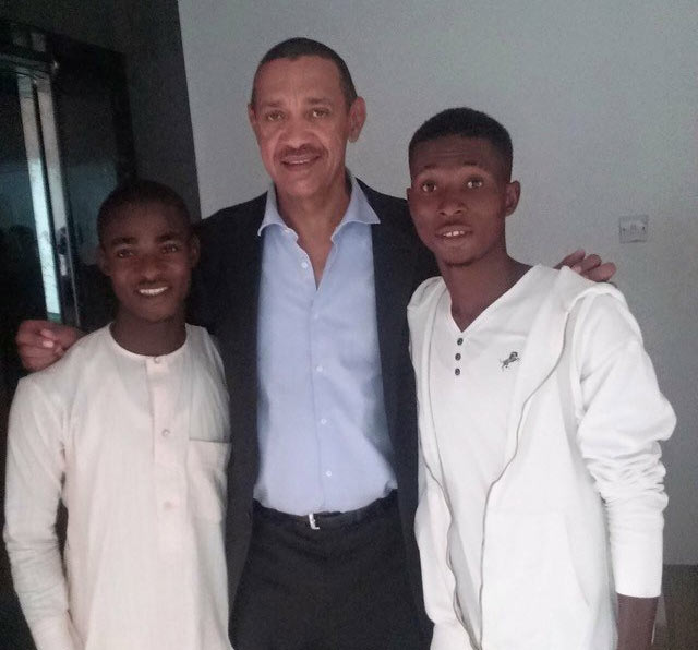 Senator Ben Murray-Bruce shows off his newly-adopted son
