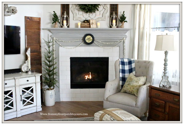 Winter Mantel-French Country-Farmhouse-Corbels-flameless candles-chimenylanterns-buffalo check balnket-From My Front Porch To Yours