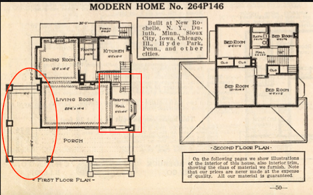 Sears 1914 catalog image of floor plan for Sears Saratoga No. 146 showing wraparound porch and entry hall.