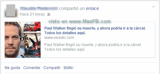 SPAM desde Veredic en Facebook - MasFB