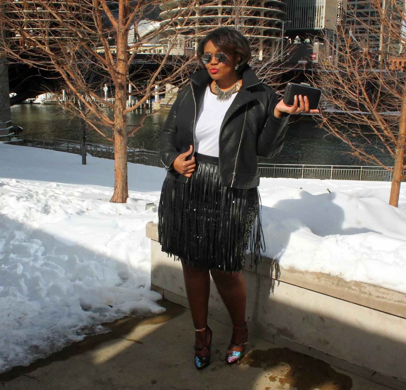 Rocker Chic Valentines Day Style Plus Size Sequins Fringe Floral Block Heels