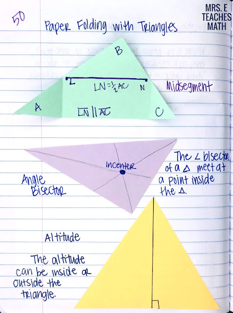 paper folding with triangles for midsegments, angle bisectors, and altitudes