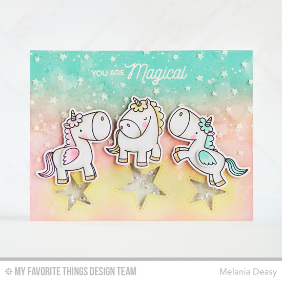 Handmade card from Melania Deasy featuring Birdie Browns Magical Unicorns stamp set and Die-namics, and Inside & Out Stitched Stars Die-namics #mftstamps