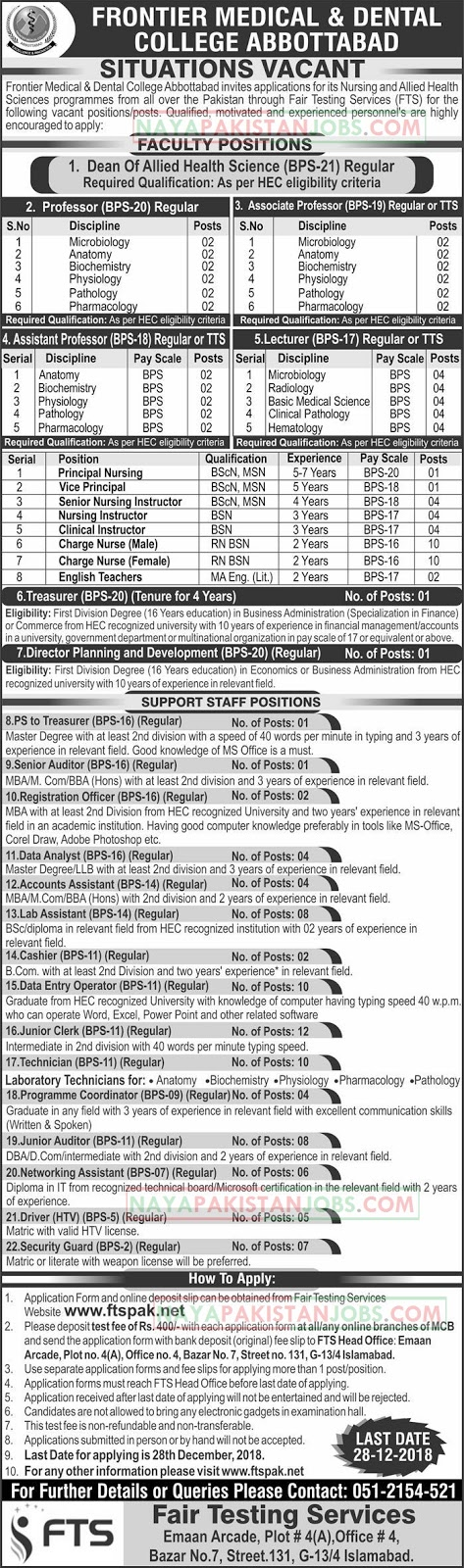Frontier Medical And Dental College Abbottabad Jobs 9 December 2018 - Naya Pakistan